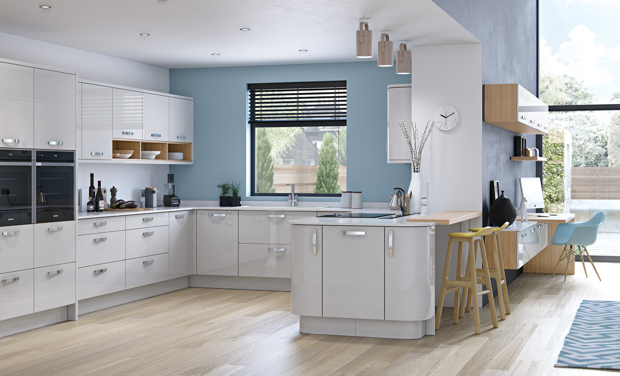 Modern Contemporary Zola Gloss Light Grey Kitchen Hero